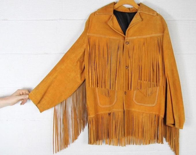 Fringe Leather Jacket 70's Orange Brown Suede Leather Fringe Hippie Festival Coat Jacket Vintage Size Medium Large