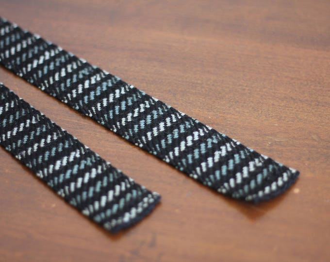 50's Knit Skinny Square Tie Wool Handwoven Black Gray Vertical Striped Made in Venice Italy
