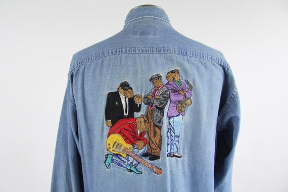 90's Camel Cigarettes Joe Camel Button Down Chambray Vintage Cotton 90s Men's Shirt Vintage Size Medium