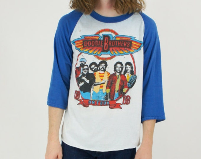 1987 Doobie Brothers Live On Tour Reunion White and Blue Raglan Tee T-Shirt Vintage Size Medium / Large