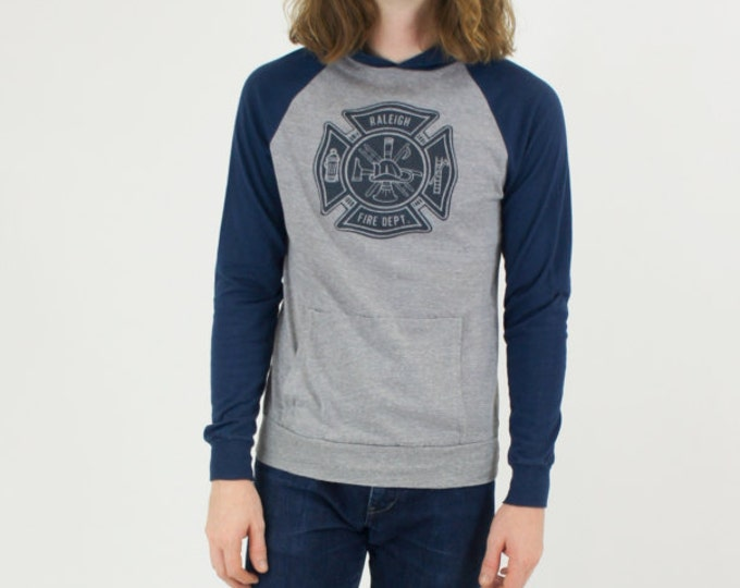 Raleigh Fire Department Raglan Navy Gray Hooded T-Shirt Hoodie Vintage Small Made in USA