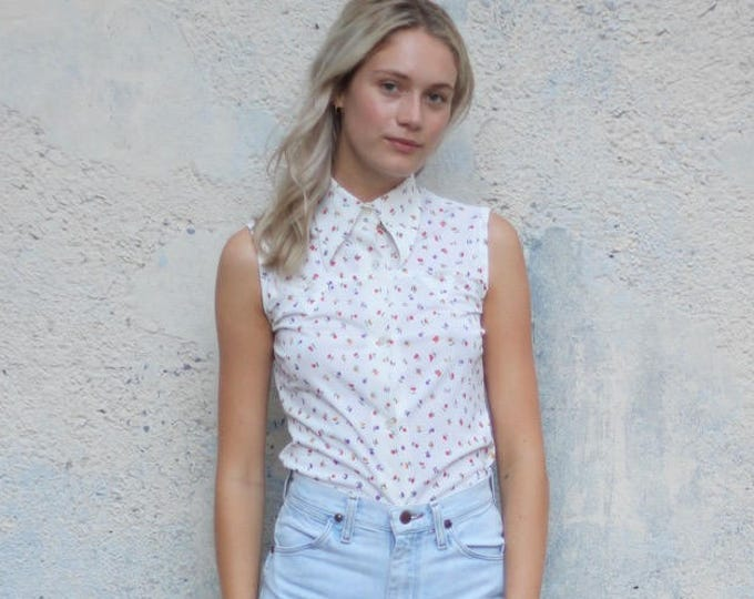 70s Floral Sleeveless Blouse White Women's Vintage Button Up Blouse Long Collar Shirt Small
