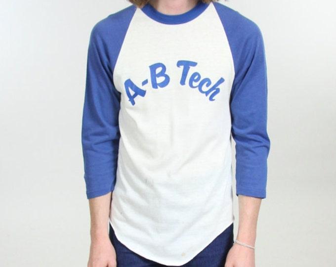 70s Blue AB Tech Ringer Baseball T-Shirt Raglan Vintage Size Small Medium Blue White Distressed