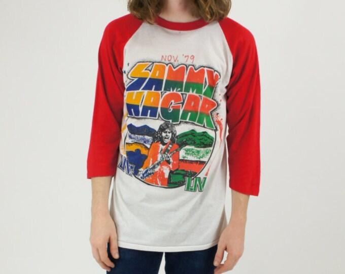 Sammy Hagar Live November 1979 Street Machine Concert Tour Red and White Baseball Raglan Tee Shirt / T-shirt Vintage Size Medium Large