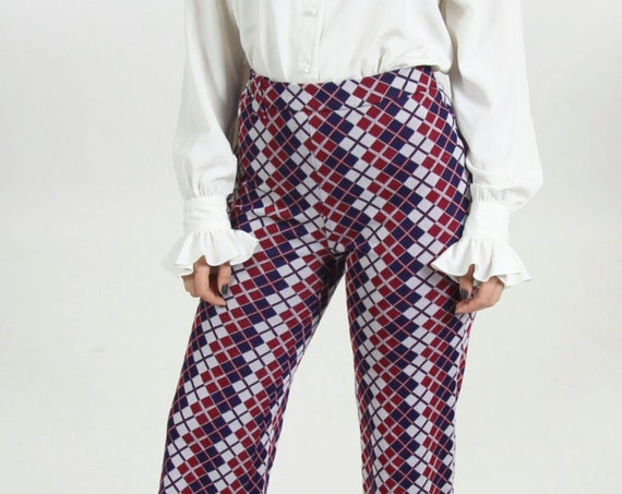 Argyle High Waisted 70s Pants Women's Patterned Navy Blue Maroon Diamond Bell Bottoms Size Medium
