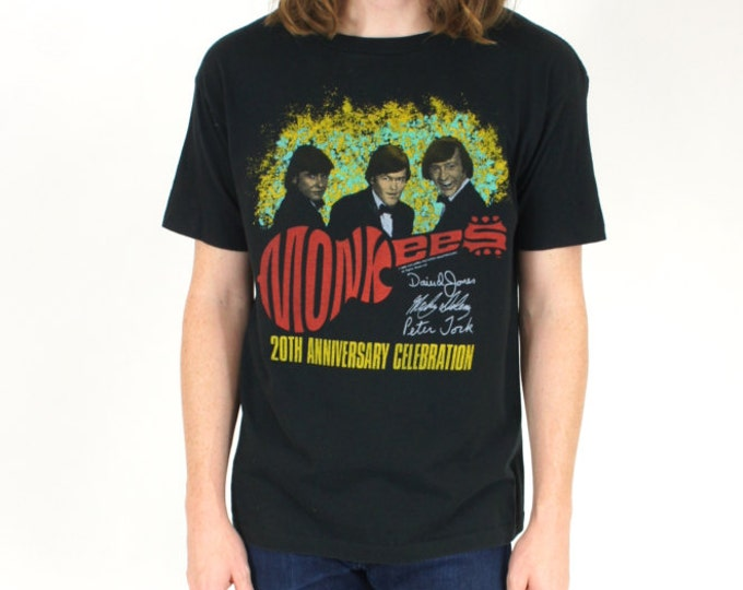 1986 Black Vintage Monkees 20th anniversary celebration Concert Tour 50/50 Tee Shirt /Tshirt Size Medium