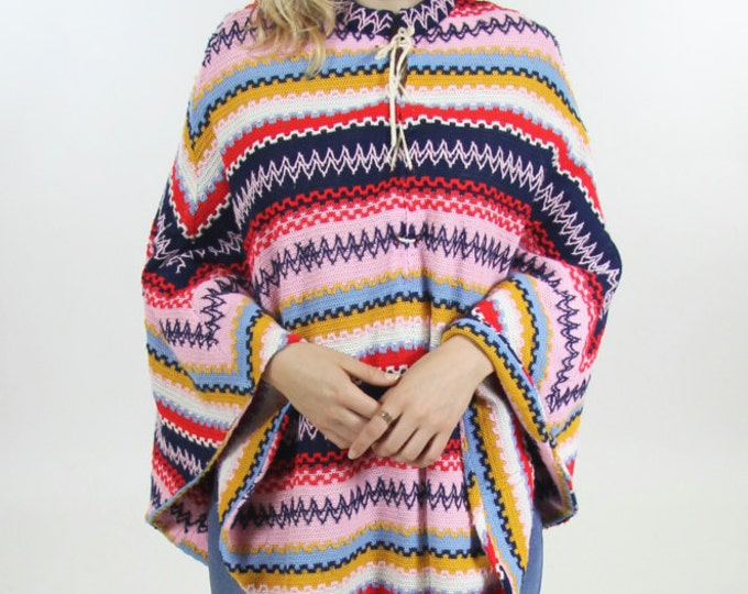 60's Psychedelic Colorful Rainbow Handmade Poncho Boho Cape Shawl Women's Sweater Throw Vintage One Size