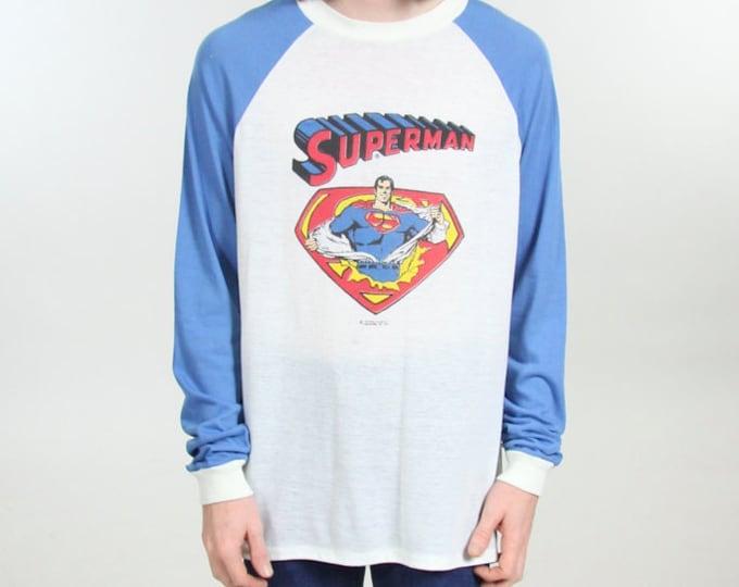RARE ORIGINAL 1978 Superman Blue Raglan Vintage Long Sleeve Shirt