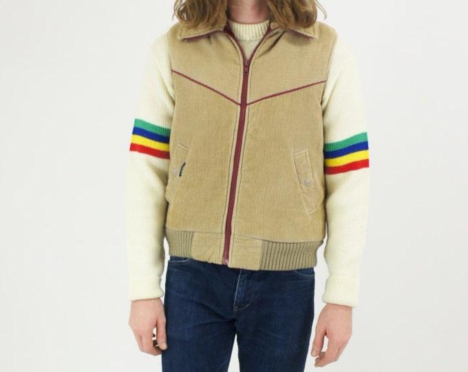 Men's Vintage Corduroy Tan Maroon Khaki Winter Puffer Ski Vest Size Small