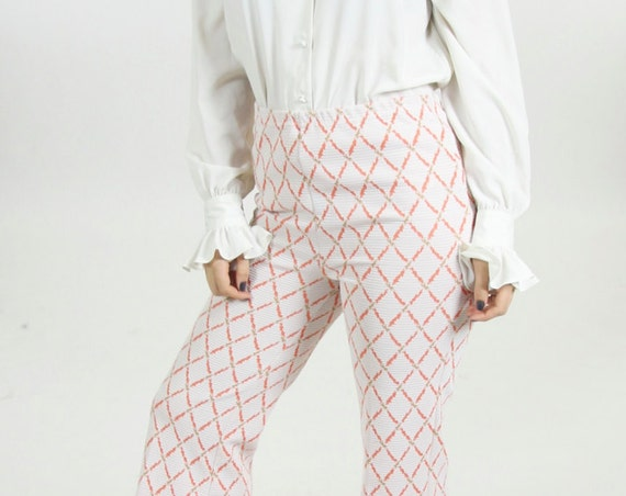 White Women's 70s Diamond Bell Bottom High Waisted Disco Peach Pants Size 10 29 32
