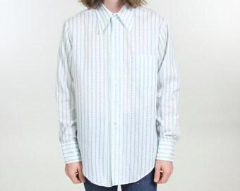 70s Vintage Vertical Striped Button Down Dress Shirt Geometric Long Sleeve Button Up Size Medium Large
