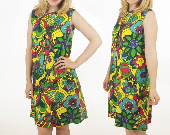 60's Mod Psychedelic Mini Dress Floral Go Go Handmade Cotton Vintage Women's Size Medium / Large
