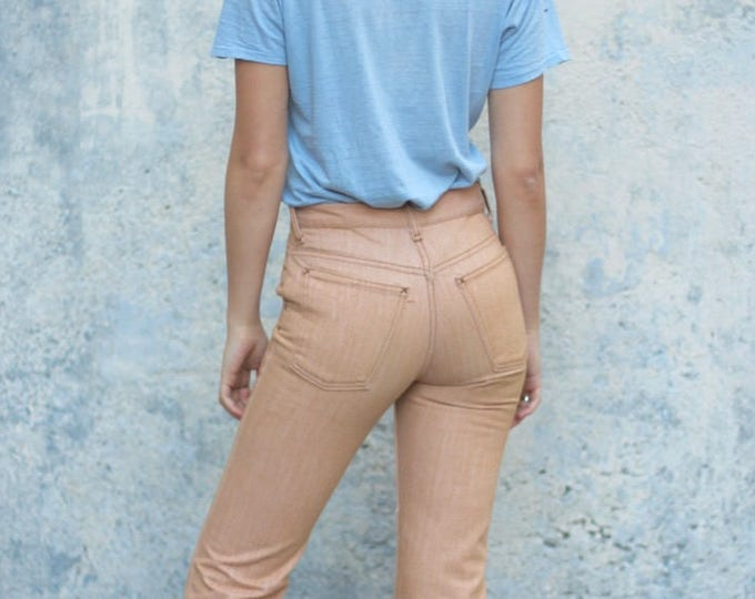 Distressed Boot Cut 70s High Waisted Jeans Peach Cream Thick Denim Slim XS Vintage 26 x 28