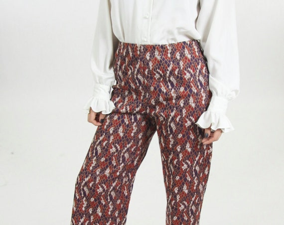 High Waisted Bell Bottom Pants Women's Psychedelic Patterned 70s Trousers Size 28 30 32 Red Maroon Navy White