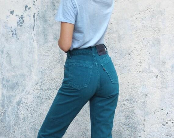 Rare Orange Tab Teal Levi's Jeans High Waisted Pants 912 Slim Fit Tapered Leg Size 3 Medium 24 x 30 31 Unique