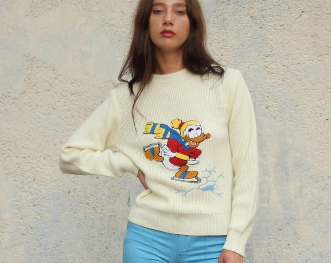 Rare Donald Duck Ice Skating 50s 60s Sweater Unique Long Sleeve Fifties Disney Knit Pull Over