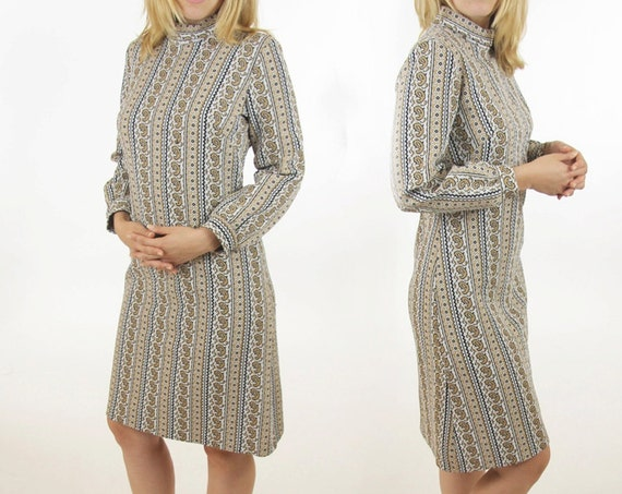 Paisley Mod Psychedelic Dress Long Sleeve Nude Taupe Tan Vintage Heavy Polyester 50s / 60s Stretchy Comfotable