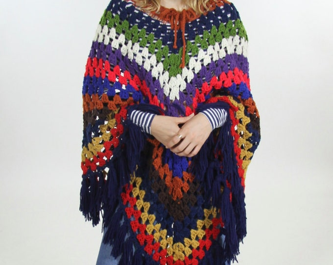 Colorful Striped Crocheted Psychedelic Handmade Fringe Poncho Women's Bright Boho Cape Shawl Sweater Throw Vintage Size Small Medium Large