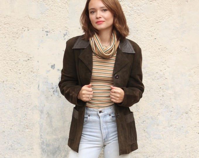 Suede Leather Jacket / Button Up Leather Suede Blazer Jacket Medium / Winter Warm Size Medium Women's Coat