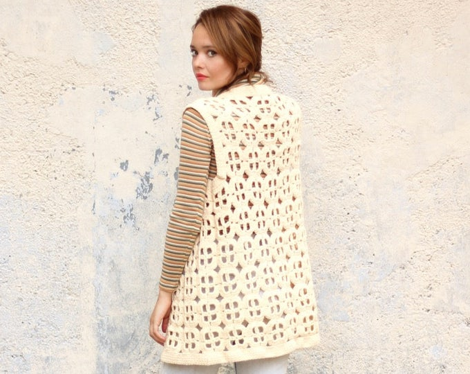 Cream Boho Vest Crocheted Knit Vintage Psychedelic Hippie Handmade White Small Medium Large See Through Cut Out