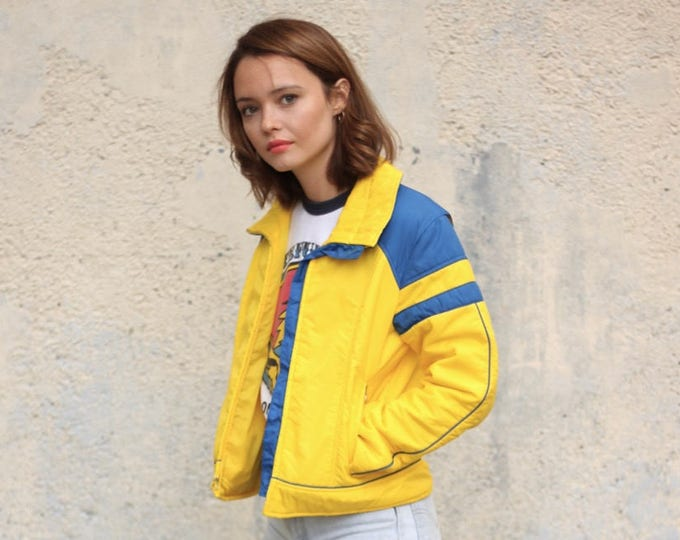 70s Women's Bright Yellow Ski Jacket Puffy Coat Patches Vintage Size Small Winter Jacket
