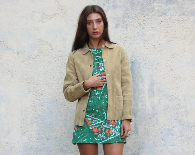 Light Brown Suede Peter Pan Collar 70s Snap Button Leather Coat Jacket Cream Beige Mod Women's