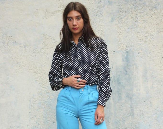 Polkadot Black Button Down Blouse Women's Long Sleeve 70s Shirt Vintage Shirt Size Medium