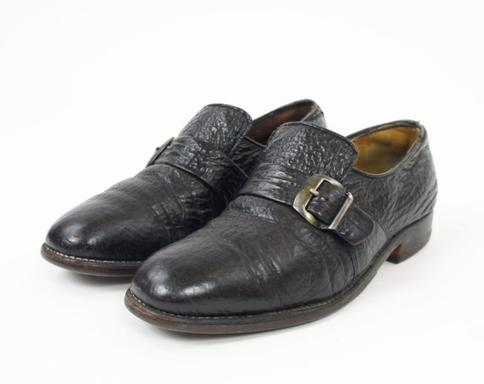 Men's Black Slip On Pebble Leather Dress Shoes with Buckle Vintage Size 8 D Loafers