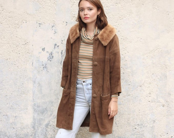 Long Vintage Brown Suede Jacket with Mink Collar and Bracelet 3/4 Sleeves Leather Winter Mod Coat
