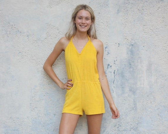 Yellow Terrycloth Roper Women's Halter Playsuit Onesie Vintage Size Small / Medium
