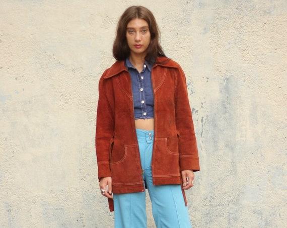 70's Suede Leather Jacket Women's Coat with Belt Zip Up Vintage Winter Blazer Sport Coat Long Burnt Orange Brown Size Small Medium