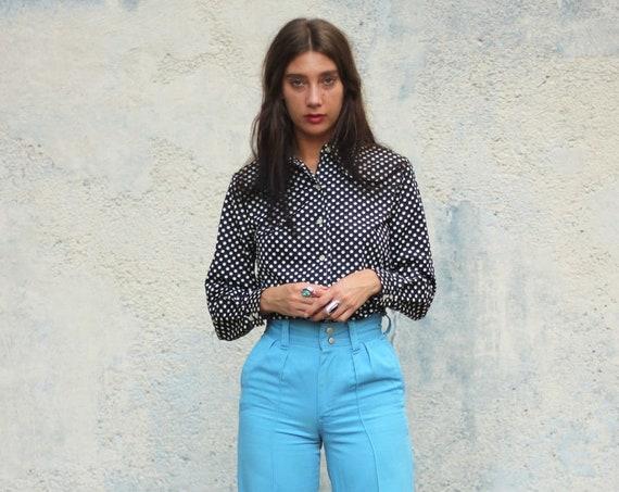 Polka Dot Black Blouse Button Down Women's Shirt Long Sleeve 70s Top Vintage Size Medium