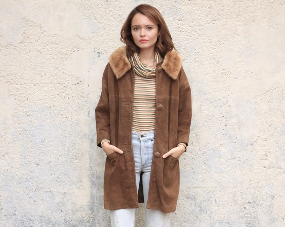 Suede Leather Jacket with Mink Fur Collar Long Vintage Coat Bracelet 3/4 Sleeves Women's Winter 50's Mod Coat