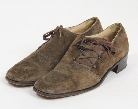 Men's Brown Suede Loafers Men's Size 10 Dress Shoes Square Toe Suede Slip On with Laces Unique Mod Asymmetrical