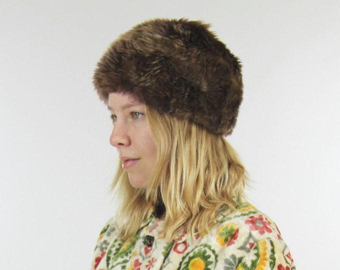 Vintage Brown Fur Pillbox Hat Winter Warm Cap Suede Leather Lining Small Medium