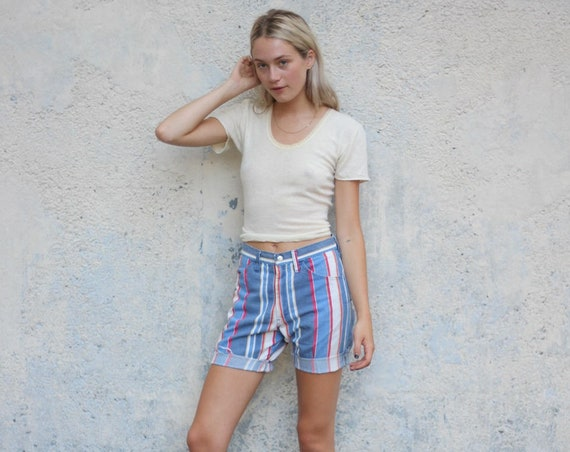 Vertical Striped Shorts Vintage Blue Red White High Waisted Frayed 28 Waist Cutoff Jorts Denim