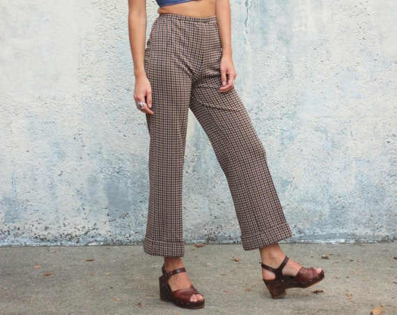 Brown Plaid Bell Bottom Pants 70s High Waisted Polyester Dress Pants Trousers Pocketless