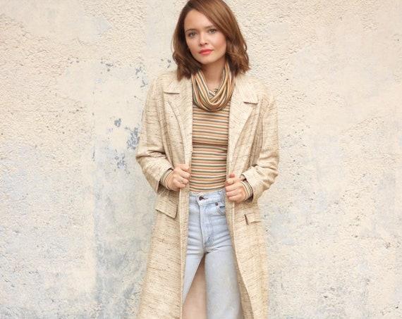 50's Long Jacket Cream Dress Coat Mod Knee Length Coat Made in NY USA Vintage Size Small Medium