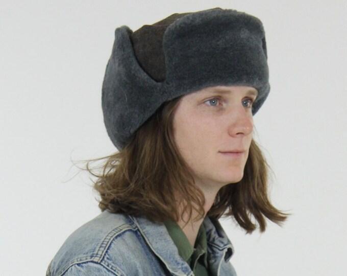 Wool Dark Gray Bomber Winter Hat with Earflaps Vintage Size Medium
