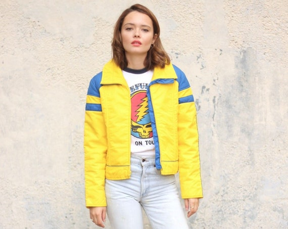 70's Ski Jacket Women's Puffer Yellow Winter Coat with Patches Vintage Size Small