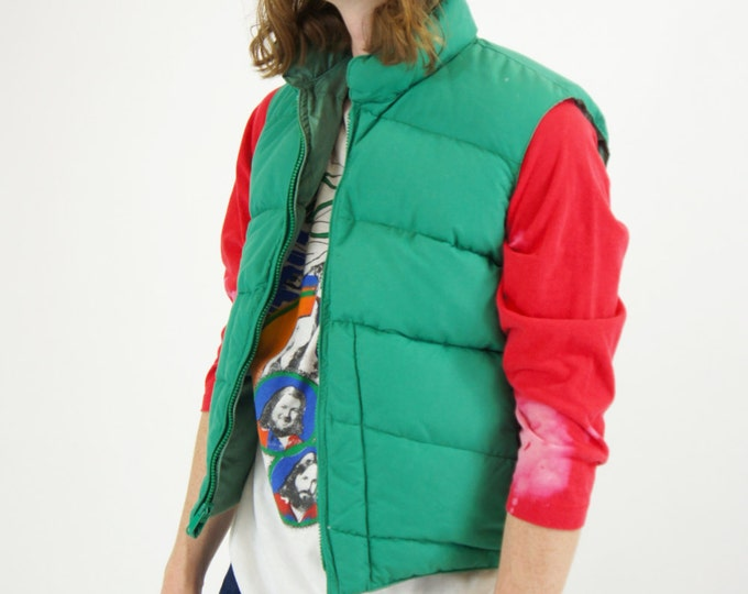 70's Puffer Ski Vest Vintage Winter Vest Green Reversible Size Small Made in Colorado USA