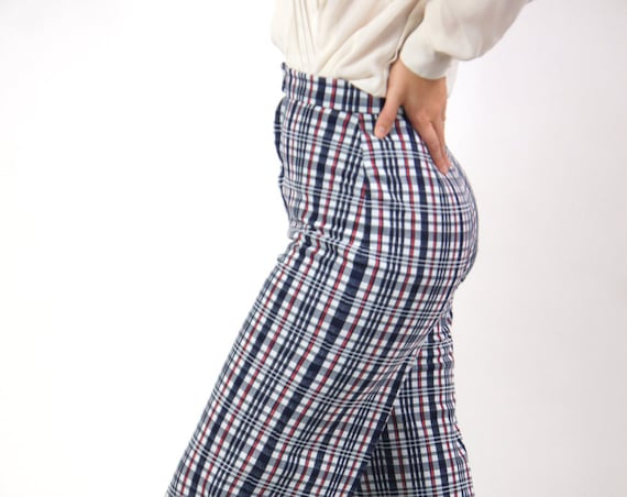 Women's High Waisted Retro 70s Handmade Polyester Bell Bottoms Red Blue Plaid 26x36 Long