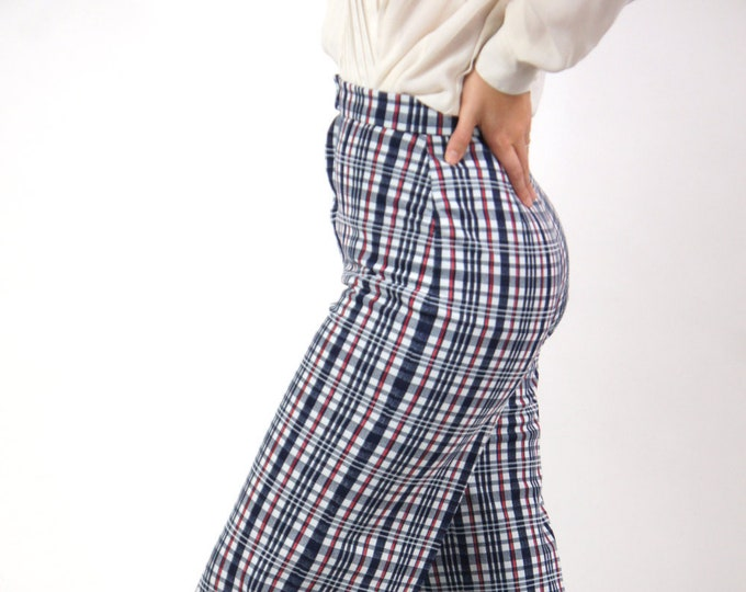 Women's High Waisted Retro 70s Handmade Polyester Bell Bottoms Red Blue Plaid 26x36 Long