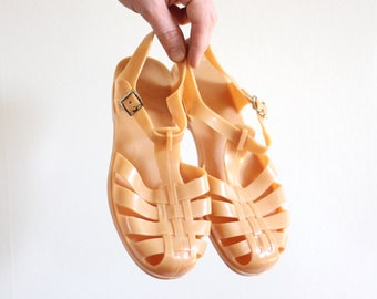 8e257c66c838 Tan Jellys 90s Sandals Women s Size 6.5 7 Size 37