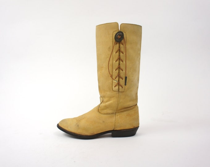 Leather Women's Size 8 Light Brown Distressed Soft Leather / Side Lace Boho Western Women's Hippie Boots Vintage Size 8