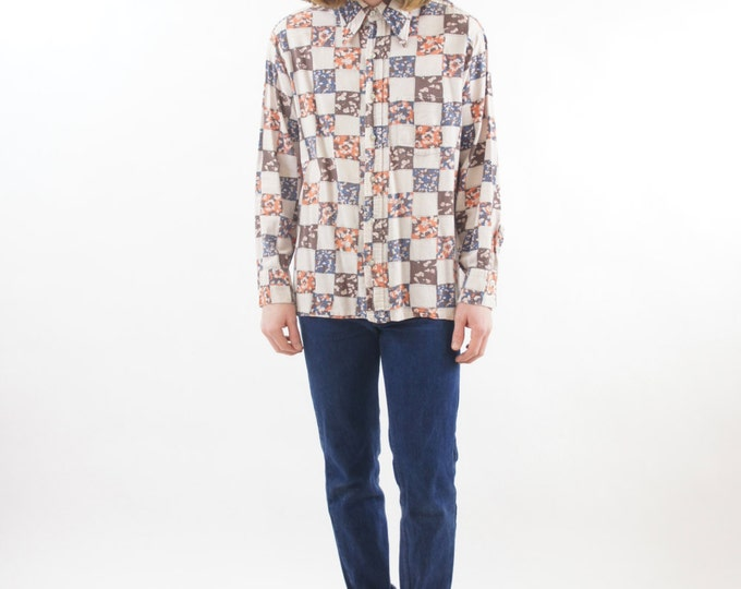 Psychedelic Patchwork Retro Men's Vintage Button Up Shirt Size Large / Medium