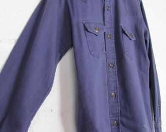 2cc09b81e4 60 s Work Shirt Button Down Men s Vintage Cotton Denim Shirt Size Medium