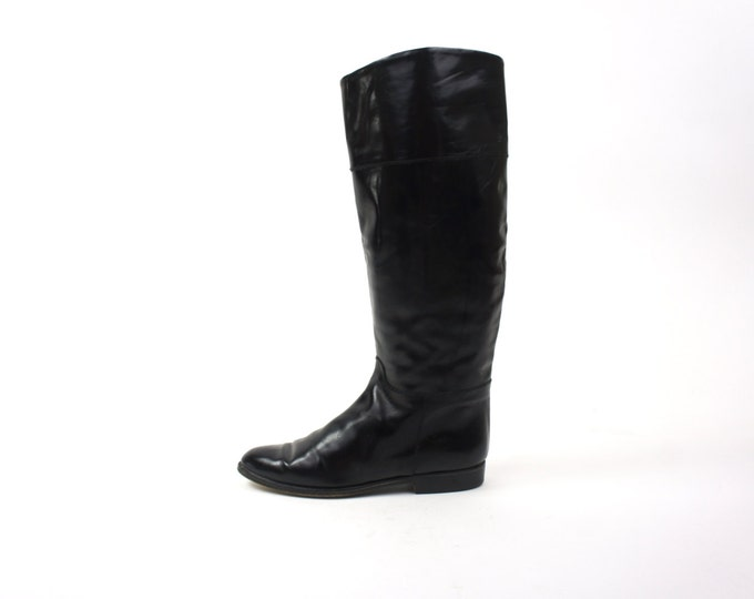 Black Vintage Knee High Leather Boots Size 7 Women's Riding Fashion Boots Made in Italy Heavy Slip On