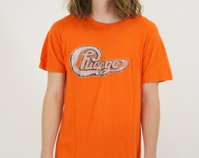 Chicago Vintage Orange 70's Iron On Concert Band Tour T-Shirt / Tee Shirt Size Medium Large