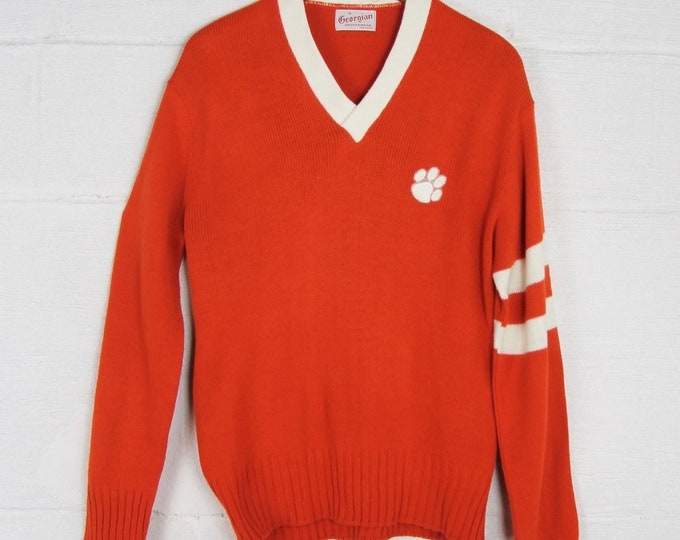 Clemson Pull Over Sweater with Stripes Vintage Size Small